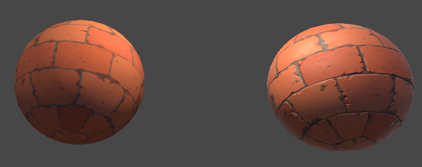 two spheres showing difference between not using a normal map and using one; without the normal map, bricks on the sphere look flat while using one fakes the bumps and depth of the bricks.
